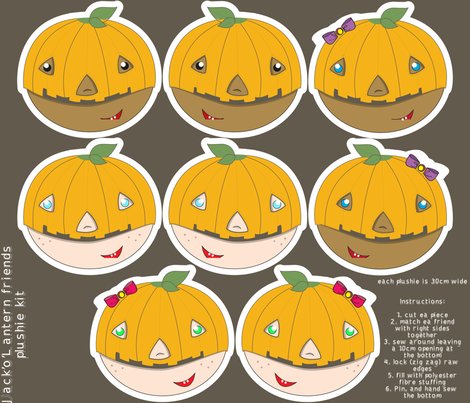 Jack'o'Lantern Friends plushie kit fabric by majobv on Spoonflower - custom fabric