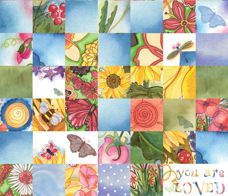 """Girls """"You Are Loved"""" Cheater Quilt fabric by twobloom on Spoonflower - custom fabric"""