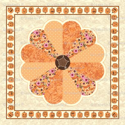 Plush Pumpkin Dresden Plate Quilt - Autumn Orange
