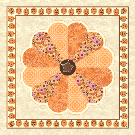 Plush Pumpkin Dresden Plate Quilt - Autumn Orange fabric by inscribed_here on Spoonflower - custom fabric
