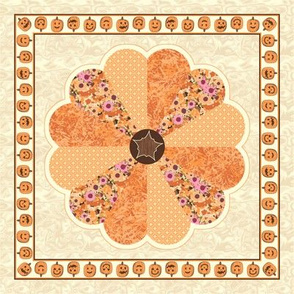 Plush Pumpkin Dresden Plate Quilt - Autumn Orange