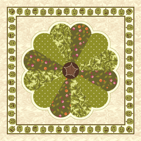 Plush Pumpkin Dresden Plate Quilt - Autumn Green fabric by inscribed_here on Spoonflower - custom fabric