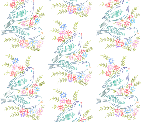 Gramma's Embroidery Light fabric by peagreengirl on Spoonflower - custom fabric