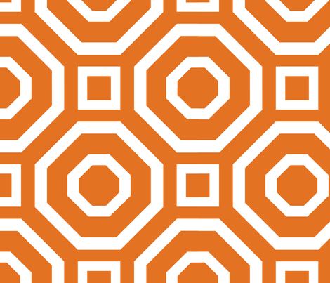 Geometry White on Tangerine fabric by alicia_vance on Spoonflower - custom fabric