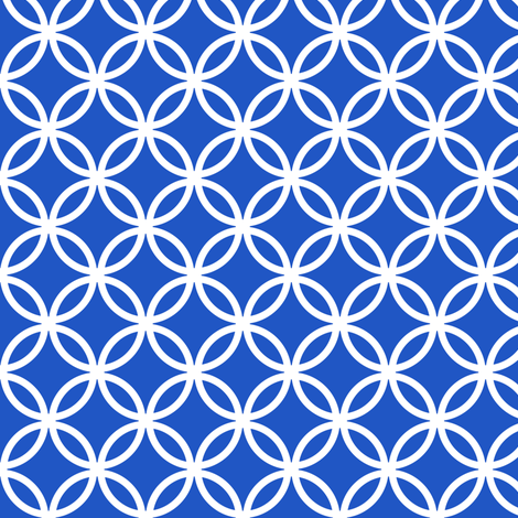 Chinese fretwork, circles, white on blue (limited palette) by Su_G fabric by su_g on Spoonflower - custom fabric