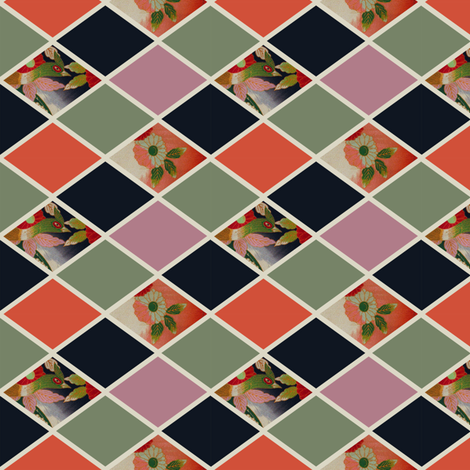 Diamonds - vintage Japanese bird and blossom fabric by lucypatterson on Spoonflower - custom fabric
