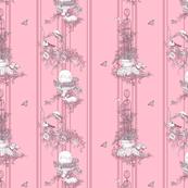 My Garden Toile Stripe Small Rose Pink ©2011 by Jane Walker