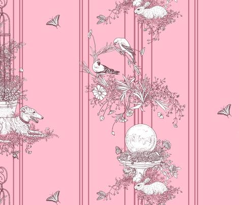 My Garden Toile Stripe Large Rose pink ©2011 by Jane Walker fabric by artbyjanewalker on Spoonflower - custom fabric