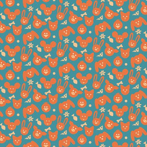 Ditsy Animals - Orange fabric by lulakiti on Spoonflower - custom fabric