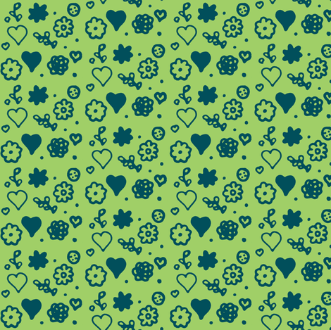 Ditsy Green and Blue fabric by fabricbycatherine on Spoonflower - custom fabric