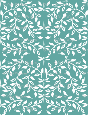 Leafy Field Arts & Crafts style fabric - white & soft-green with dragonflies