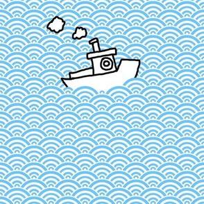 hand drawn boats