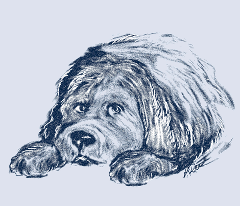 Newfoundland puppy in Blue fabric by dogdaze_ on Spoonflower - custom fabric