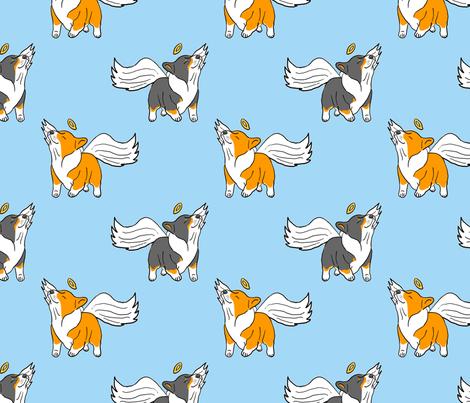 Little Corgi Angels - blue fabric by rusticcorgi on Spoonflower - custom fabric