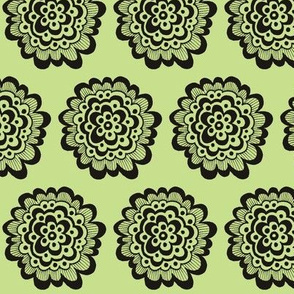 Flor - Black on Celery Green