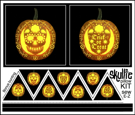 Skullie jack o' lantern pillow and bunting  fabric by paragonstudios on Spoonflower - custom fabric