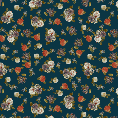 Roses and pansies on blue fabric by ravynka on Spoonflower - custom fabric