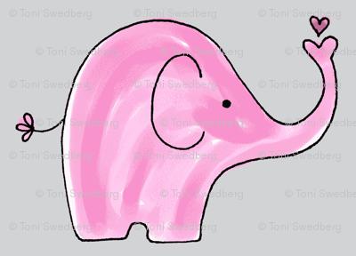 Pink Elephants on grey background