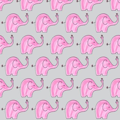 Pink Elephants on grey background fabric by toni_elaine on Spoonflower - custom fabric