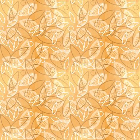 Sketchy Leaves (Peach) fabric by robyriker on Spoonflower - custom fabric