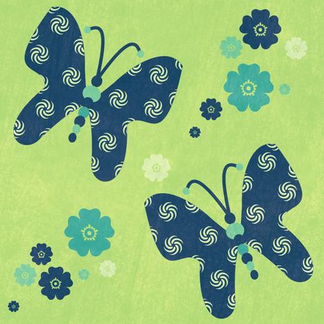 Butterflies & Flowers - Night Falls Softly - © PinkSodaPop 4ComputerHeaven.com fabric by pinksodapop on Spoonflower - custom fabric