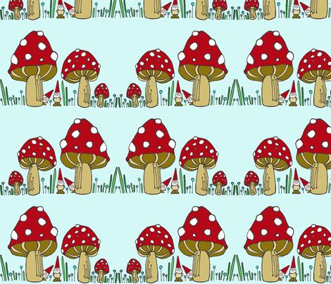 Mushrooms & Gnomes Horizontal Stripe fabric by toni_elaine on Spoonflower - custom fabric
