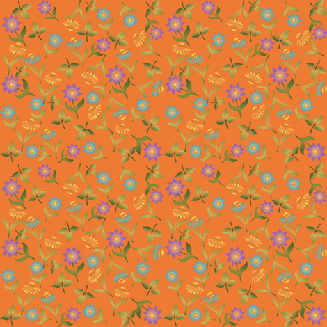 Late Summer Flowers Ditsy on Orange fabric by gingezel on Spoonflower - custom fabric