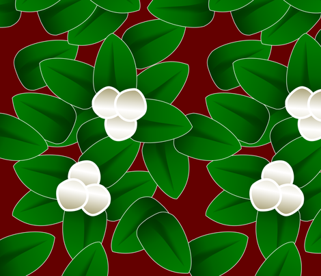 Meet Me Under the Mistletoe (red) fabric by lowa84 on Spoonflower - custom fabric