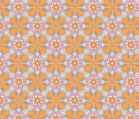 Turkish Tile Orange fabric by hairpik on Spoonflower - custom fabric