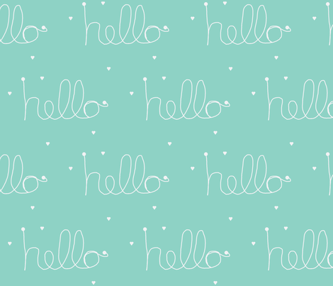 hello mint fabric by ninaribena on Spoonflower - custom fabric