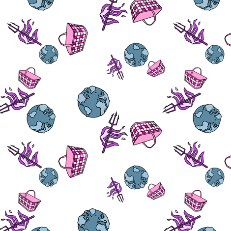 World. Hell. Handbasket. In happy hues. fabric by chris on Spoonflower - custom fabric