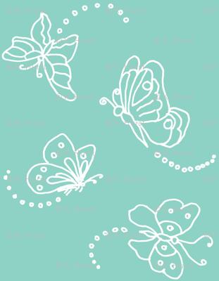 Flutterbies in white on light green