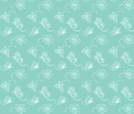 Flutterbies in white on light green fabric by bargello_stripes on Spoonflower - custom fabric