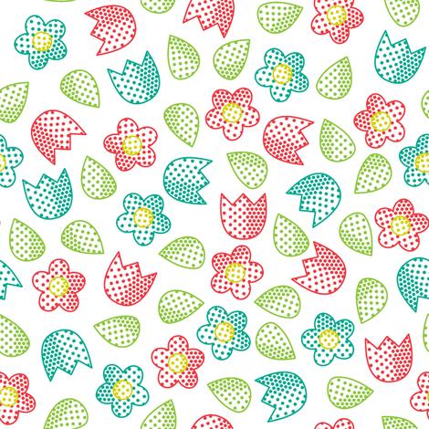 Pop Bot Ditsy White fabric by modgeek on Spoonflower - custom fabric