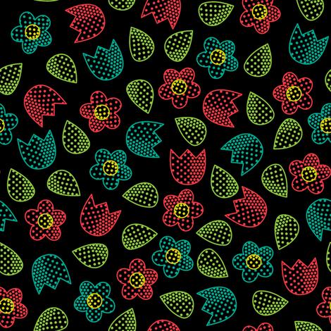 Pop Bot Ditsy Black fabric by modgeek on Spoonflower - custom fabric