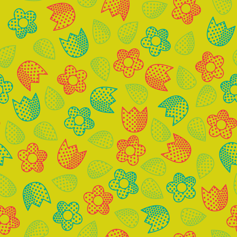 Pop Bot Ditsy Yellow fabric by modgeek on Spoonflower - custom fabric