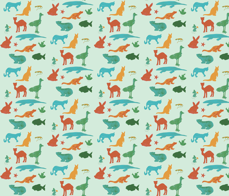 Animals Around the World in Blue fabric by kbexquisites on Spoonflower - custom fabric