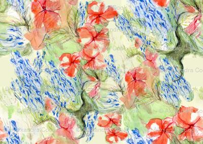 Balsam and lobelia flow by Alexandra Cook