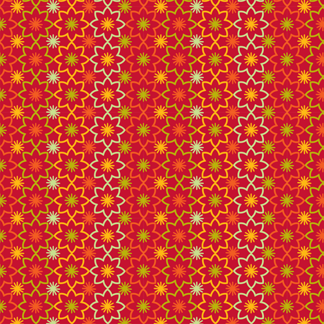 Flower star red fabric by cjldesigns on Spoonflower - custom fabric