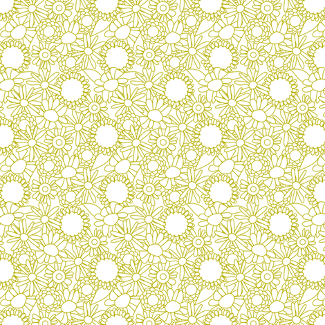 Wobbly floral green fabric by cjldesigns on Spoonflower - custom fabric