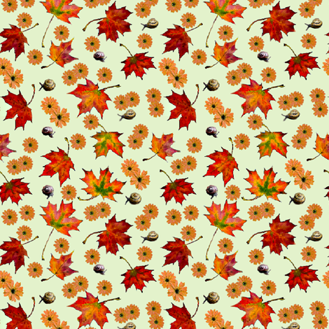Leaves,Flowers and Snails-ditsy fabric by koalalady on Spoonflower - custom fabric