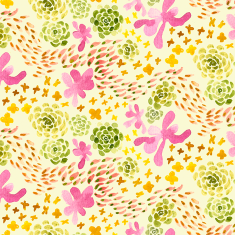 succulents ditsy fabric by 1stpancake on Spoonflower - custom fabric