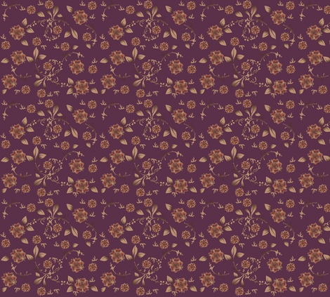 Wine Floral Ditsy © Gingezel™ Inc. 2011 fabric by gingezel on Spoonflower - custom fabric