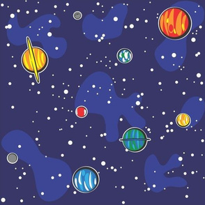 Solar system fabric wallpaper gift wrap spoonflower for Solar system fabric