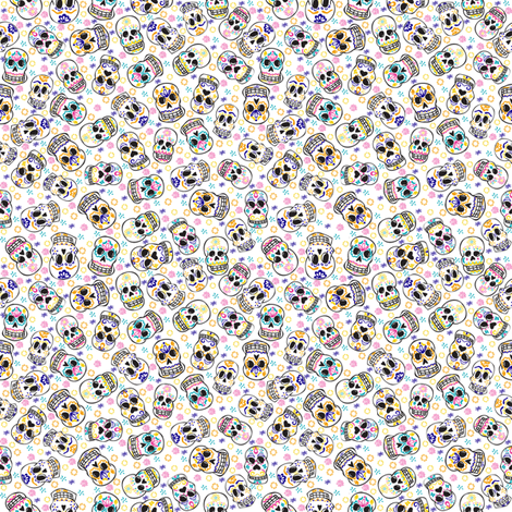Day of The  Dead-White fabric by drizzlydaydesignco on Spoonflower - custom fabric