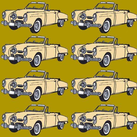 Cream 1950 Studebaker convertible on mustard green background fabric by edsel2084 on Spoonflower - custom fabric