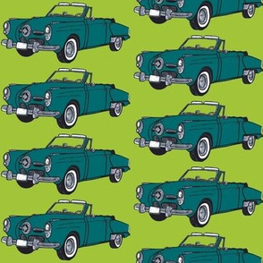 Dark teal1950 Studebaker convertible on lime background