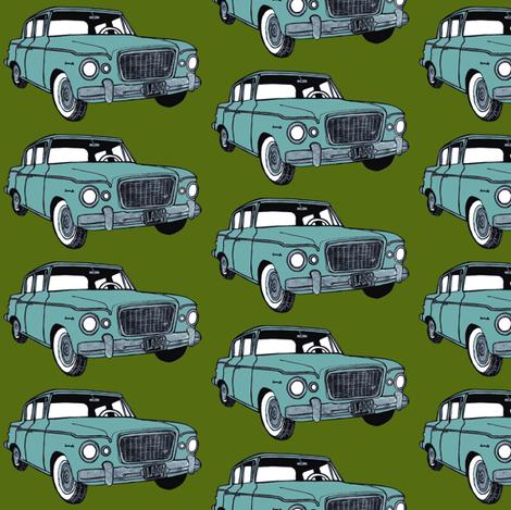light green 1959 Studebaker Lark on forest green background fabric by edsel2084 on Spoonflower - custom fabric