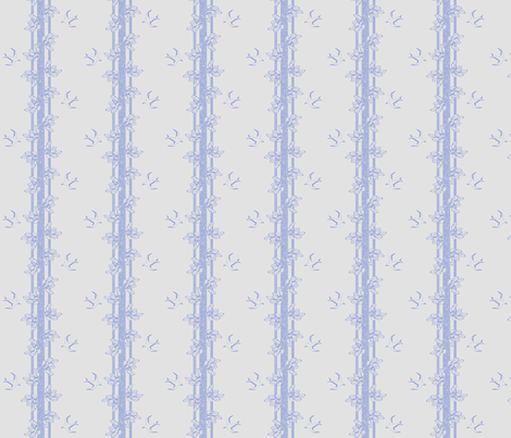 leaves and swallows - blue grey fabric by glimmericks on Spoonflower - custom fabric