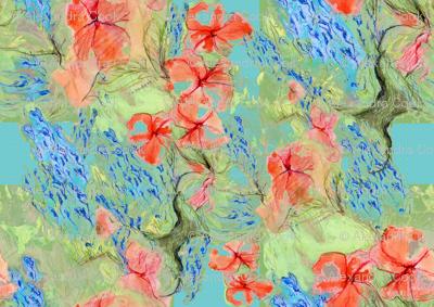Balsam and lobelia - green - by Alexandra Cook
